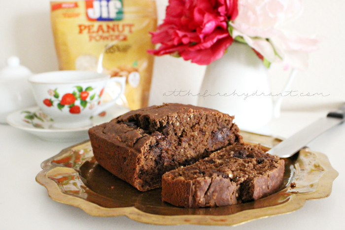 Gluten-free Peanut Chocolate and Banana Bread - At The Fire Hydrant #StartWithJifPowder